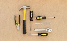 Tools for repairing top view on pasteboard background Stock Photos