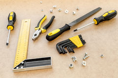 Tools for repairing top view on pasteboard background.  Royalty Free Stock Photography