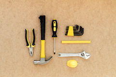 Tools for repairing top view on pasteboard background.  Stock Photography