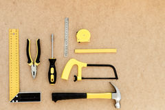 Tools for repairing top view on pasteboard background.  Stock Photo