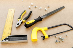 Tools for repairing top view on pasteboard background Stock Image
