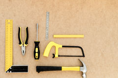 Tools for repairing top view on pasteboard background.  Royalty Free Stock Image