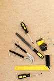 Tools for repairing top view on pasteboard background.  Stock Image