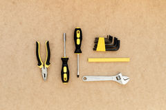 Tools for repairing top view on pasteboard background Royalty Free Stock Photos