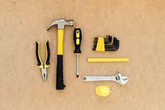 Tools for repairing top view on pasteboard background Stock Photography