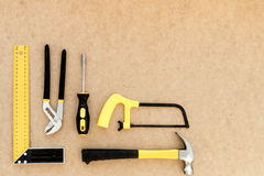 Tools for repairing top view on pasteboard background Royalty Free Stock Photography