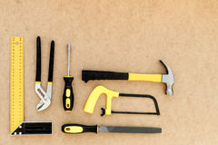 Tools for repairing top view on pasteboard background.  Royalty Free Stock Photo