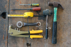 Tools required tasks. Various Hand tools are available Stock Images