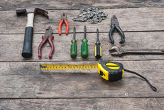 Tools Rustic Wood Background Stock Photos