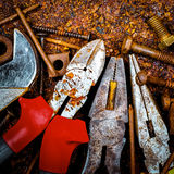 Tools on a rusty background Stock Photography