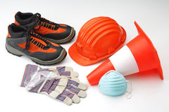 Helmet and tools safety constructions stock images