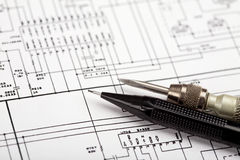 Tools on schematic diagram Stock Images