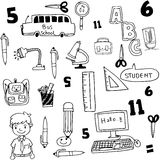 Tools school doodles collection. Vector art illustration Stock Image