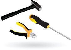 Tools screwdriver pliers hammer. Color  illustration Stock Photos