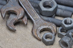 Tools screws nuts and key Royalty Free Stock Image