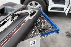 Tools for service station. spanners and socket nozzles Stock Photos