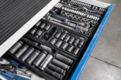 Tools for service station. spanners and socket nozzles Royalty Free Stock Image