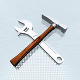 Tools set. On grid background Stock Photography