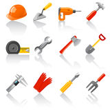 Tools set. Set of 16 glossy tool icons Royalty Free Stock Photo