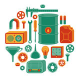 Tools set. Set of different tools arranged in circle vector illustration