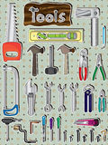 Tools Set_eps. Illustration of tools set with design tools word with wood board and circle pattern background Stock Photos