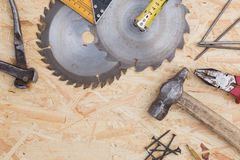 Tools set on osb panel with copy space.  Carpenter workplace on Stock Image