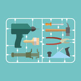 Tools Set. Plastic Model kit. Drill and hammer. Caliper and plie Royalty Free Stock Photography