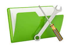 Tools and settings, computer folder icon. 3D rendering Royalty Free Stock Image