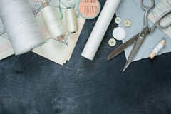 Tools for sewing royalty free stock photos