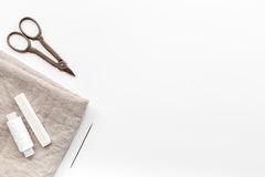 Tools for sewing for hobby set on white background top view mock up Royalty Free Stock Photos