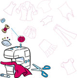 Tools for sewing. The illustration shows drawing from a set of tools on the background patterns sewing clothes for people. Vector illustration done in cartoon Stock Photos