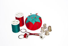 Tools of sewing including thread royalty free stock photo