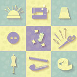 Tools for sewing stock illustration
