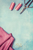Tools for sewing top view Stock Images