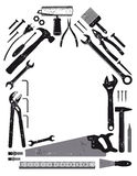 Tools in shape of house. Illustration of different tools in shape of house on white background with copy space Stock Photos