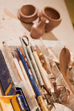 Tools for shaping clay Stock Photo