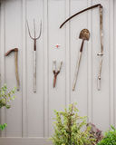 Tools on the shed wall Royalty Free Stock Photos