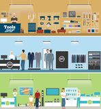 Tools shop, electronics store and men clothing. Shop banner set with people shopping and buying products on shelves. Vector illustration in flat style Stock Photos