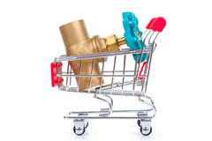 Tools in shopping cart. Isolated on the white background stock images