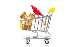 Tools in shopping cart. Isolated on the white background stock photo