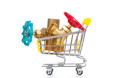 Tools in shopping cart. Isolated on the white background royalty free stock photo
