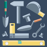 Tools shovel, level, putty knife, wrench, hammer Royalty Free Stock Image