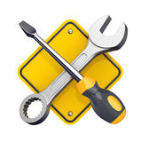 Tools sign. Spanner and screwdriver. Tools sign isolated on white. 3d illustration Royalty Free Stock Photo