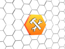 Tools sign in orange hexagon Royalty Free Stock Photography