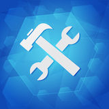 Tools sign over blue background. Tools sign - white symbol over blue background, flat design, business service concept Stock Photography