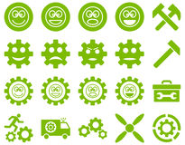 Tools and Smile Gears Icons Royalty Free Stock Photography