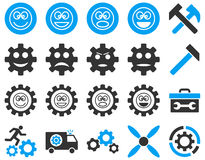 Tools and Smile Gears Icons Royalty Free Stock Photos