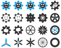 Tools and Smile Gears Icons Stock Images