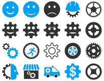 Tools and Smile Gears Icons Stock Photography