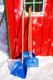 Tools for snow removal in Bulgarian Pomorie, winter Stock Image
